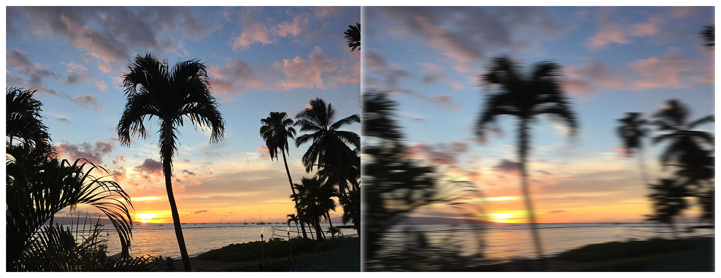 Two photographs of a beach at sunset with multiple palm trees. The photo on the left is clear and crisp. In the photo on the right, a motion blur filter has been applied, causing a hazy and streaky effect and making the trees in the foreground look very blurry and distorted.