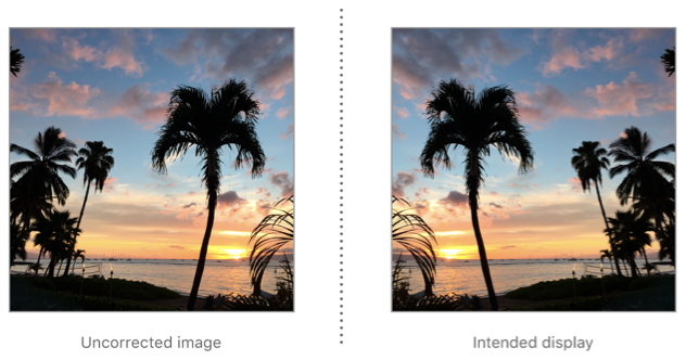 To correct an image with upMirrored orientation for display, flip it horizontally.