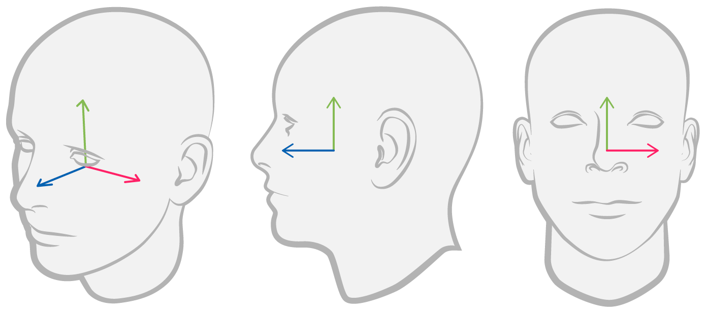 Figure indicating the x/y/z coordinate system origin for face anchors, centered behind the face.
