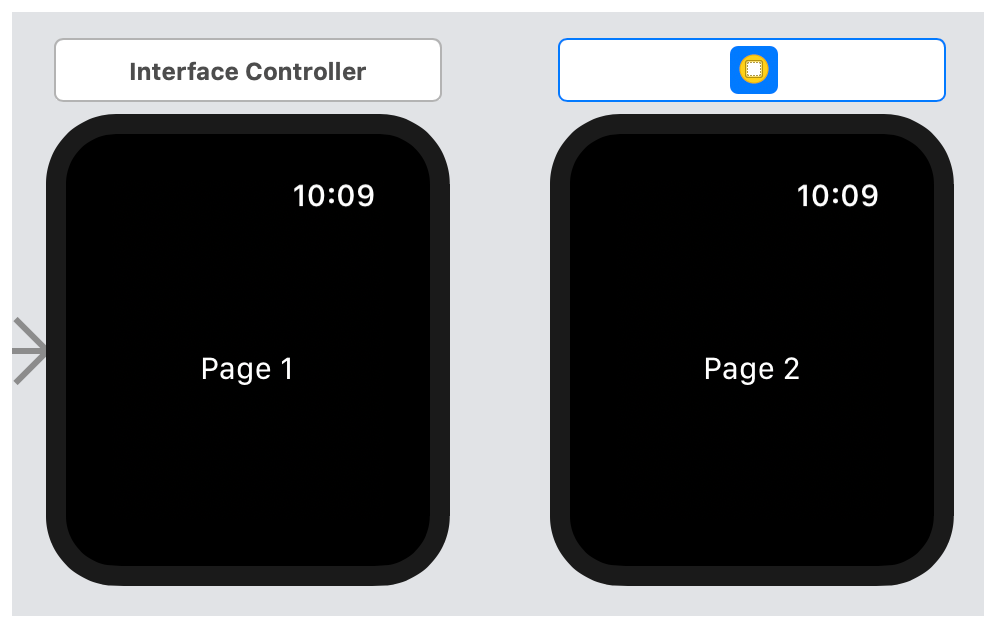 A screenshot showing two interface controllers in the storyboard.