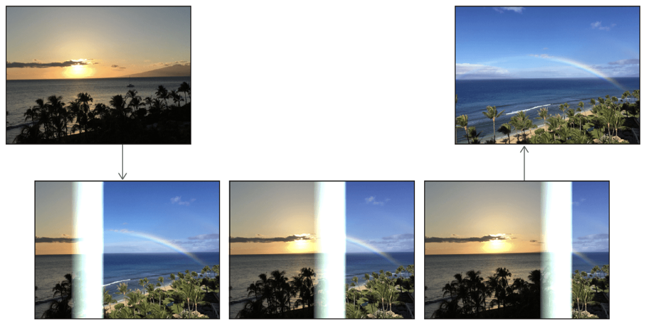 Copy machine transition from a beach at sunset to a beach at daytime with rainbow in the sky