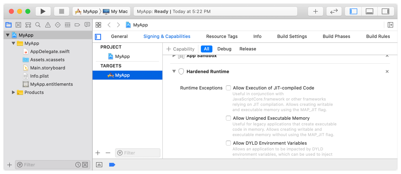 Screenshot of Xcode showing some of the entitlements used for exceptions to the Hardened Runtime.