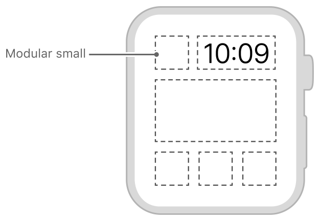 Diagram showing the size and position of a modular small complication.