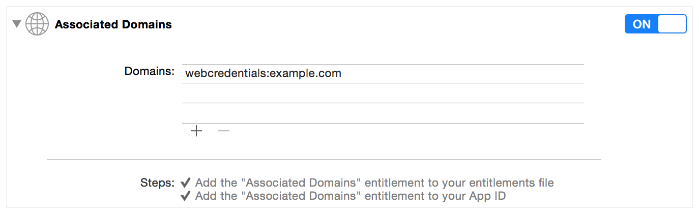 Screenshot showing how to add the associated domains for your app.