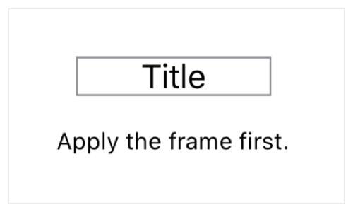 """A screenshot of a text view displaying the string """"Title"""", outlined by a gray rectangle that's wider than the string it encloses, leaving empty space inside the rectangle on either side of the string. A caption reads, """"Apply the frame first."""""""