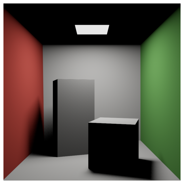Image showing two boxes rendered using primary rays and shadow rays. Shadows and geometry not in direct light are black.