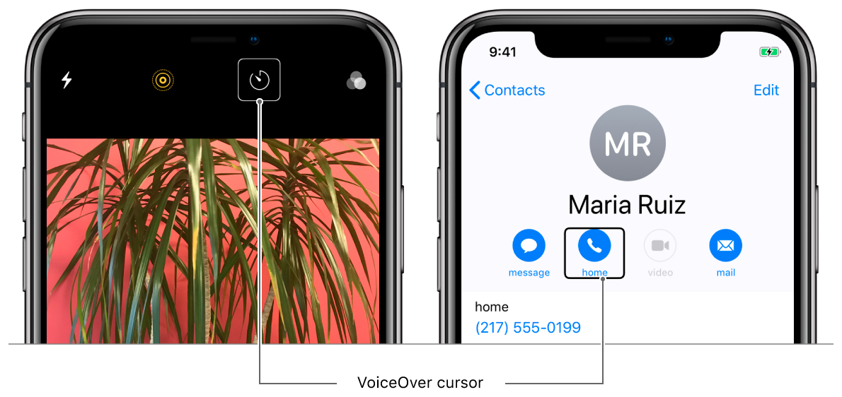 Two iPhones with VoiceOver turned on. The phone on the left has the camera app open and the VoiceOver cursor is highlighting the timer. The phone on the right shows a contact in the phone app for Maria Ruiz. The call home button is highlighted by the VoiceOver cursor.