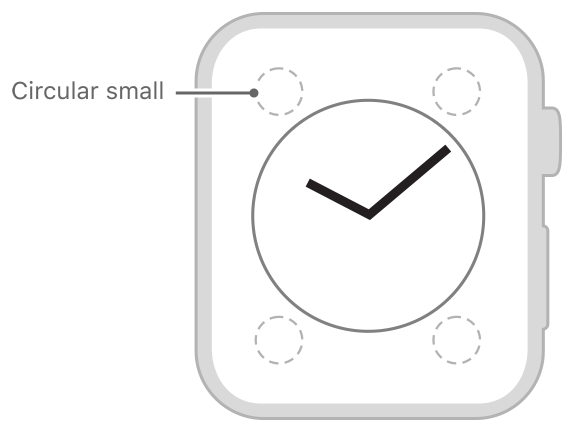Diagram showing the size and position of a circular small complication.