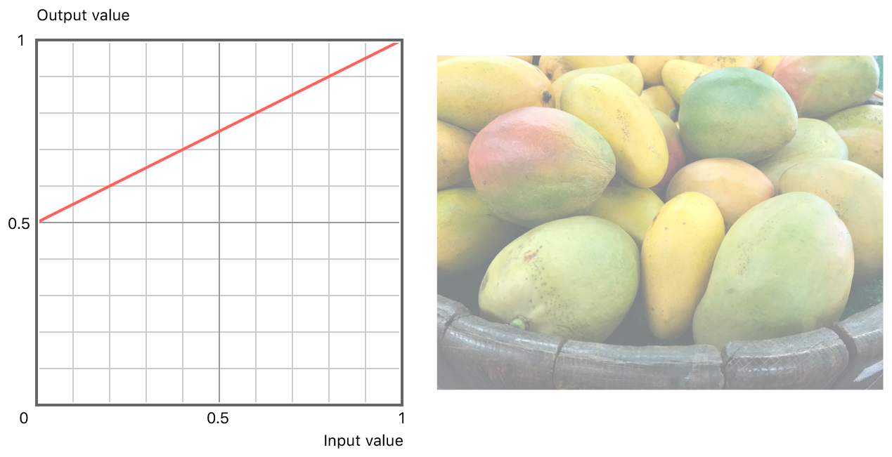 On the left, a graph showing the linear relationship between input and output values. On the right, a washed-out version of the original photograph with linear adjustment applied.