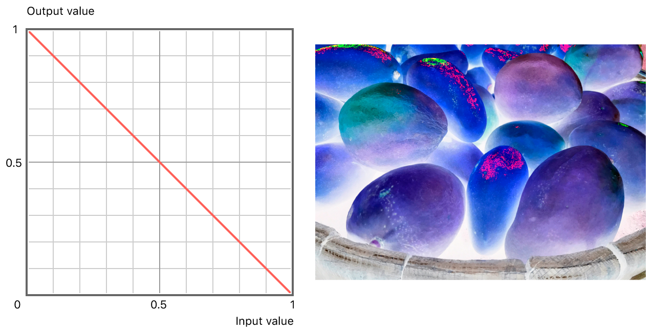 On the left, a graph showing the linear relationship between input and output values. On the right, a negative version of the original photograph with linear adjustment applied.