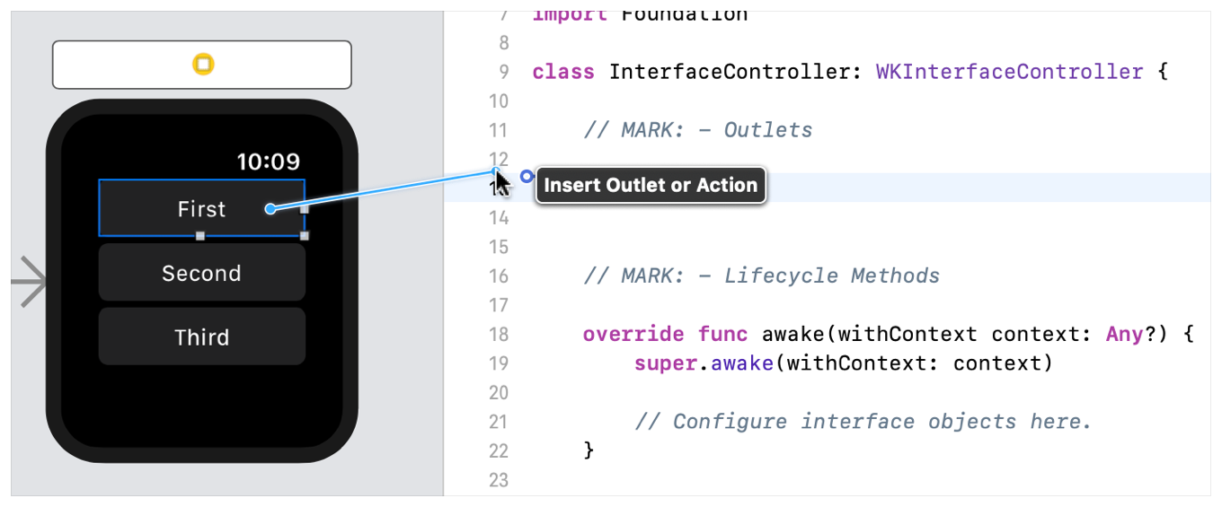 A screenshot showing a control-drag operation from a button in the storyboard to the WKInterfaceController subclass.