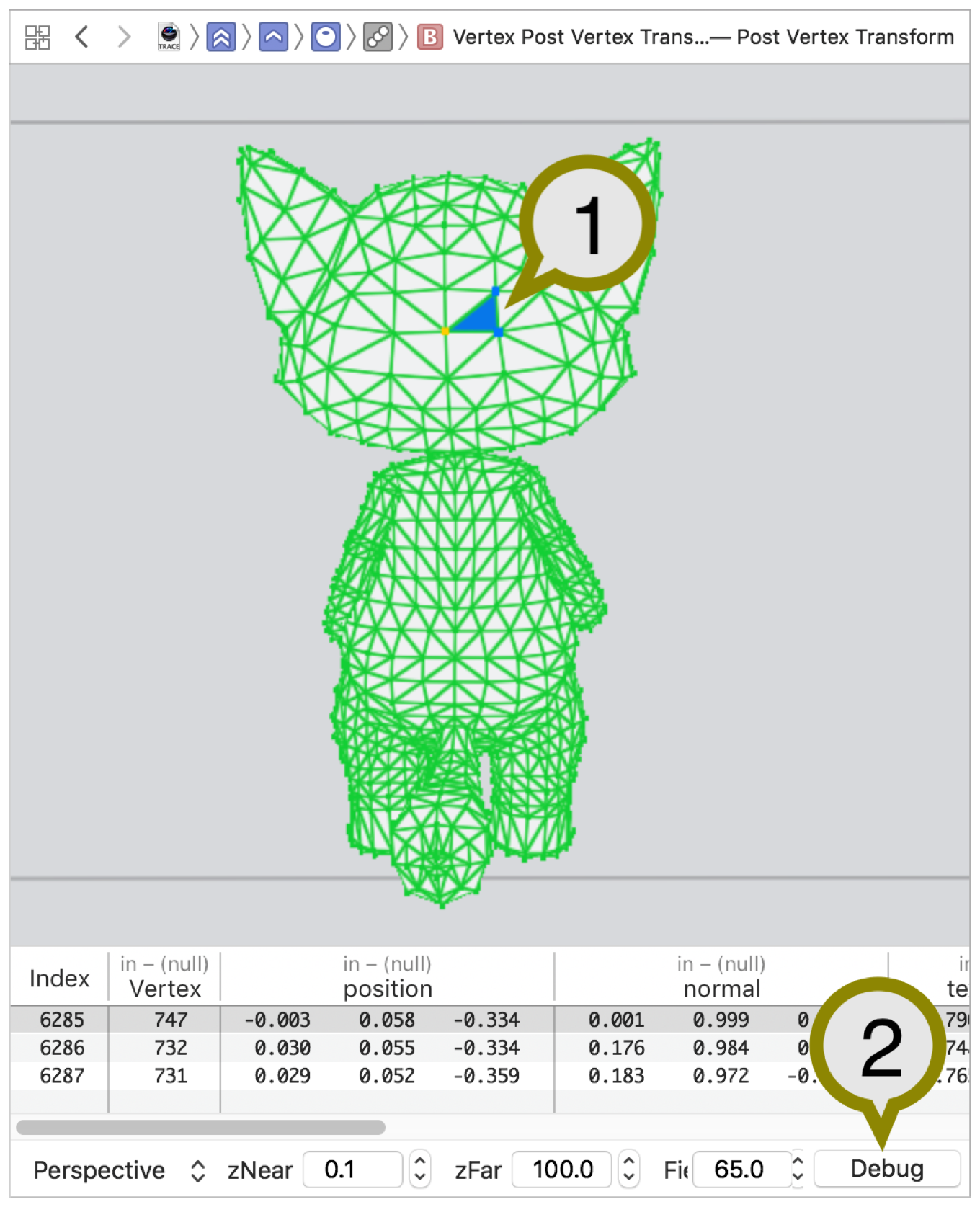In the center pane, the geometry viewer displays the vertices included in the draw call with a selected primitive annotated. On the bottom-right, the Debug button is annotated.