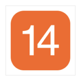 A white number fourteen, inside an orange-filled square with rounded corners.
