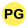 The phrase P G in black, inside a yellow-filled circle.