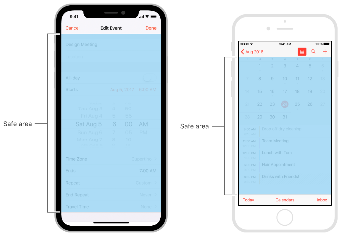 Safe areas in the Calendar app