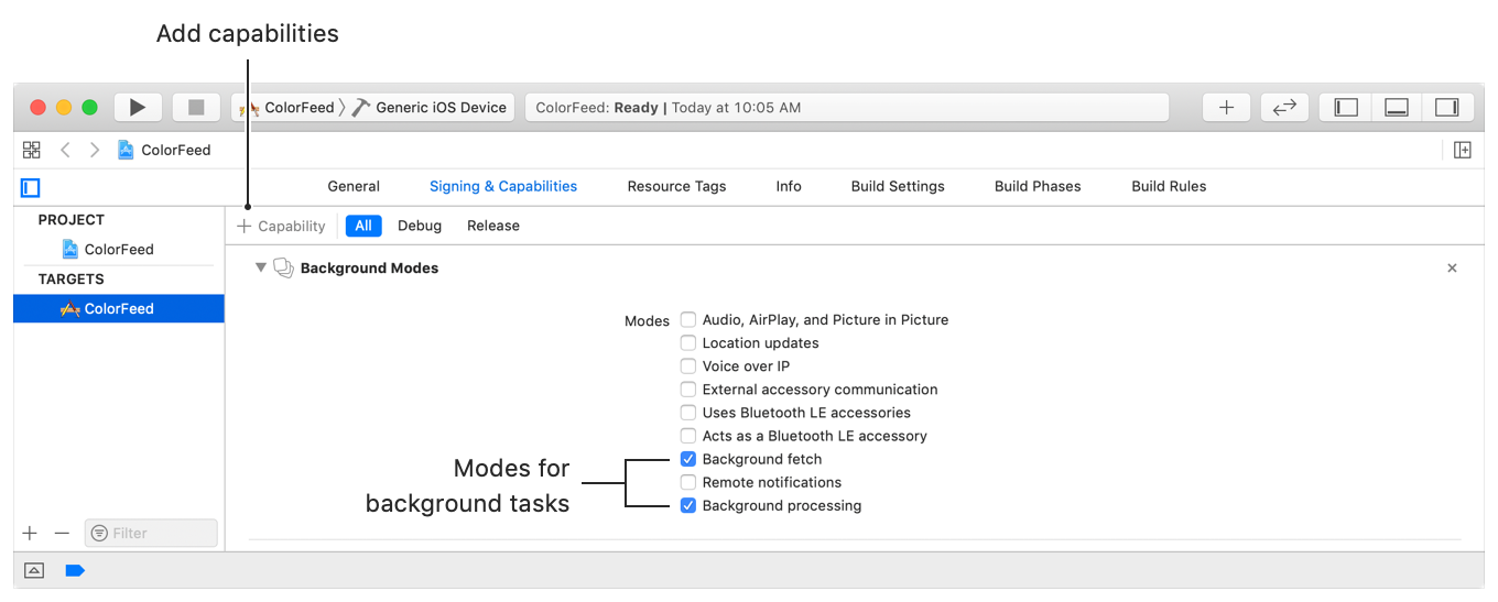 """The Xcode project editor showing the Background Modes capabilities editor of the Signing & Capabilities pane. A text callout points to the """"+ Capability"""" button at the top-left above the editors and another callout identifies the two background mode checkbox items."""