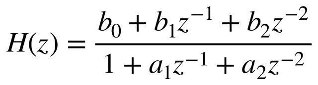 General formula that describes mathematically the transfer function used by the vDSP Library for biquadratic filtering. Cap H open parentheses z close parentheses equals b sub zero, plus b sub 1 times z to the power of minus one, plus b sub 2 times z to the power of minus two, over one plus a sub 1 times z to the power of minus one plus a sub 2 times z to the power of minus 2.