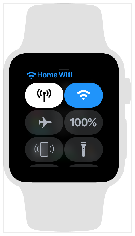 Screenshot showing the Apple Watch control center when the watch is connected to a known WiFi network.
