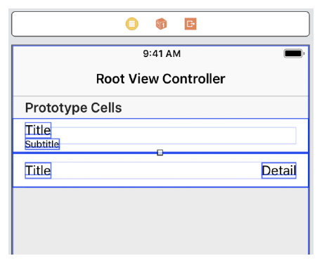 Illustration showing a table with two prototype cells in the Xcode storyboard editor.
