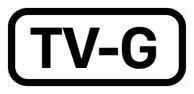 The phrase T V dash G, inside a black rectangle with rounded corners.