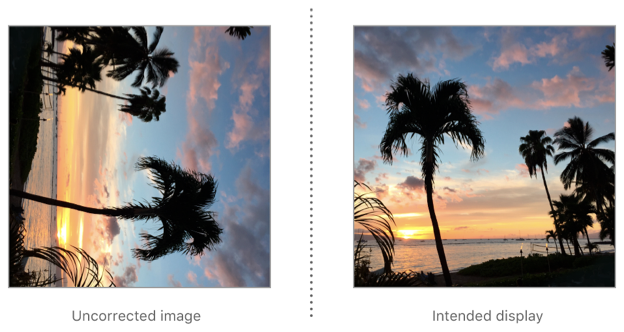 To correct an image with rightMirrored orientation for display, rotate it 90° counterclockwise then flip it horizontally.