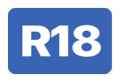 The phrase R eighteen in white, inside a dark-blue-filled rectangle.
