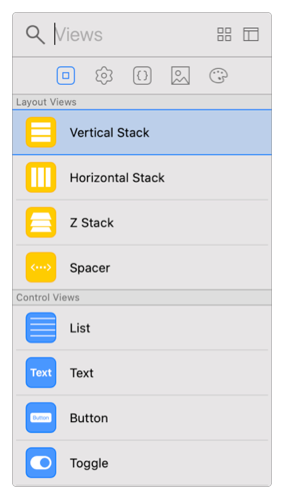Screenshot showing the library when a SwiftUI element is selected.