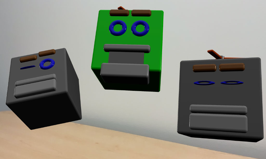 Screenshot of three virtual objects placed in the physical environment, each reflecting a different expression that mimic the user's expression at the time of placing the object.