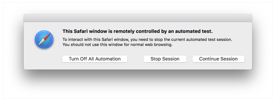 Screenshot of the dialog that appears when you try to break the glass pane. The dialog presents three buttons: Turn Off All Automation, Stop Session, and Continue Session