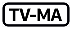 The phrase T V dash M A, inside a black rectangle with rounded corners.