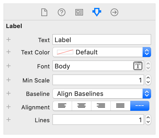 A screenshot of the Attribute inspector for Labels.