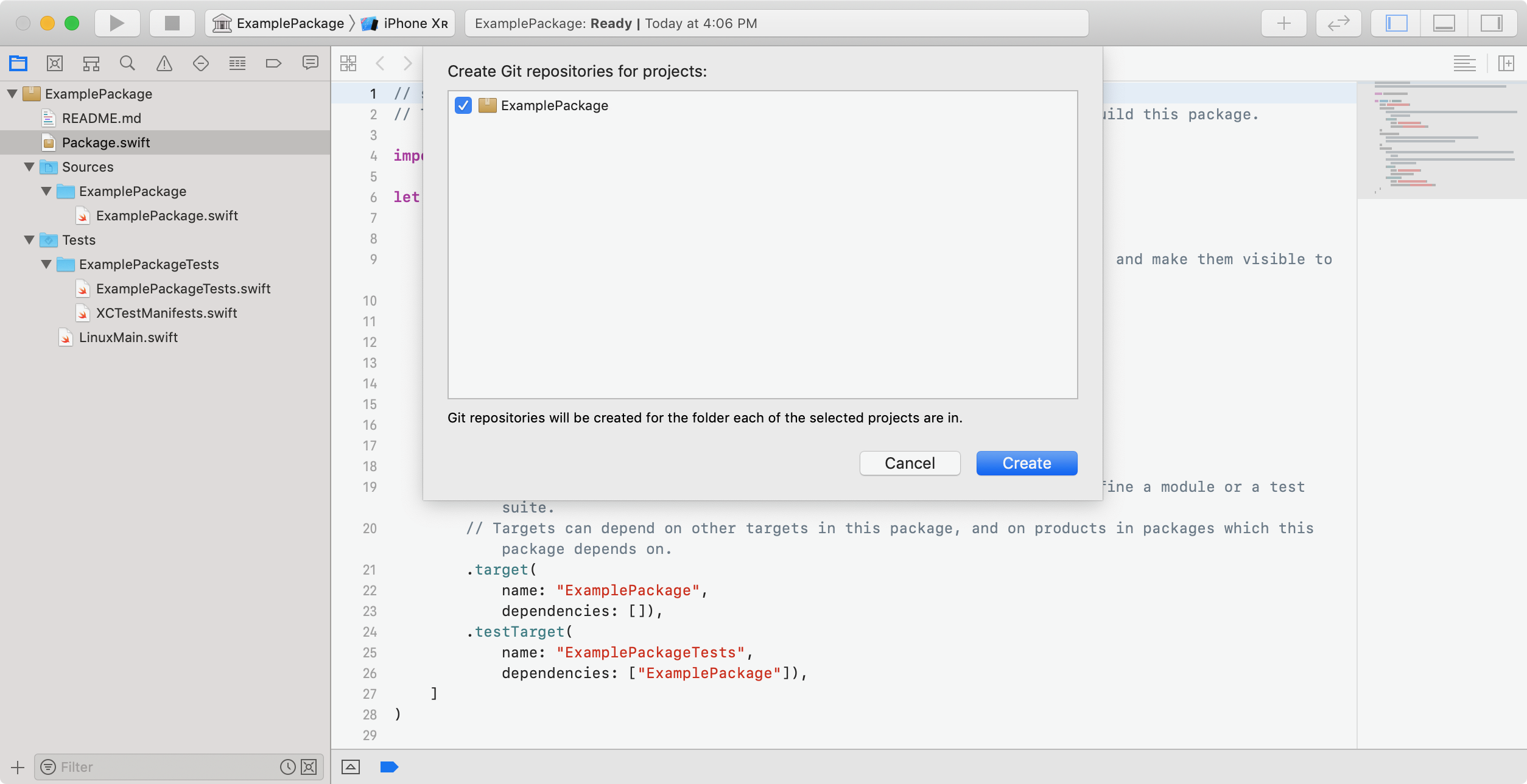 Screenshot showing the dialogue when following the directions to put a standalone Swift package under version control.