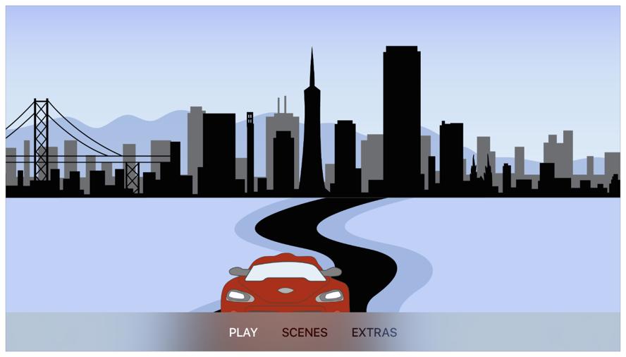 Screenshot showing a stylized city landscape. A menu bar showing user options is along the bottom.