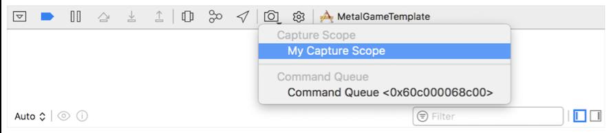An Xcode screenshot that shows the Capture Scope contextual menu in the debug bar.