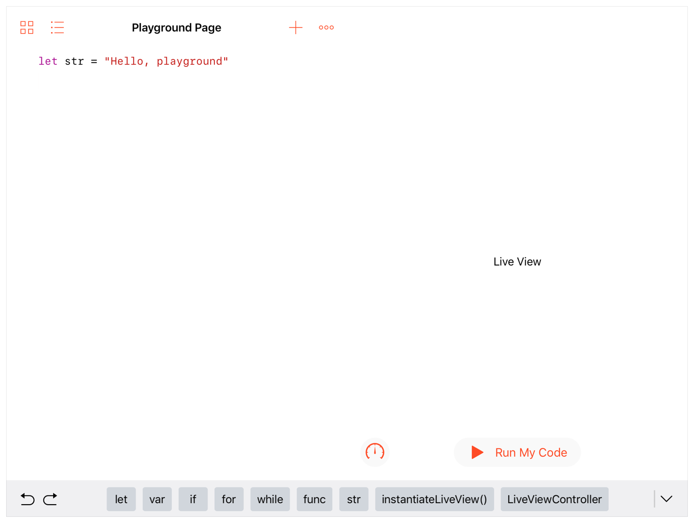 Screenshot showing a playground page with a variable declaration in the code editor, and text field in the live view with the text, Live View.
