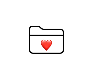 View showing placement of a heart overlaid onto a folder icon.