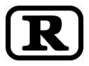 The letter R, inside a black rectangle with rounded corners.