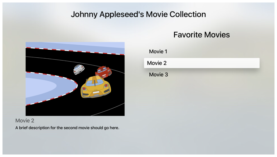 Screenshot showing an example of a movie collection. A list of movies is on the right and an image of the selected movie is on the left.