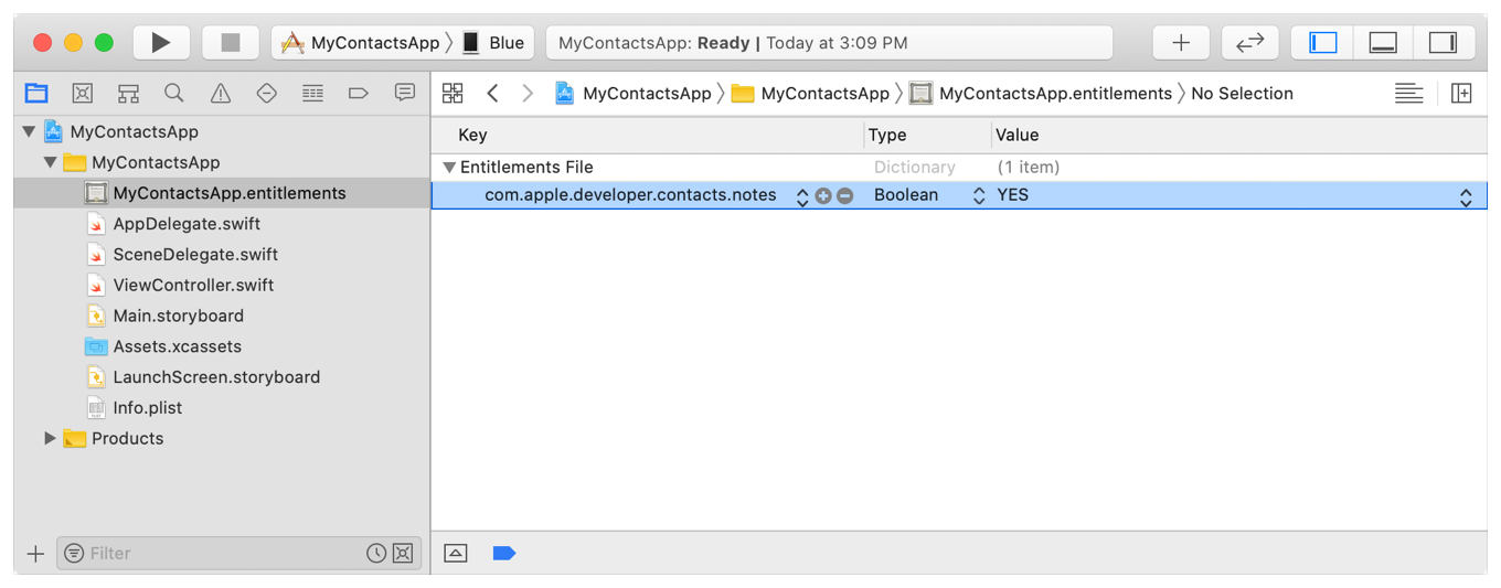 Screenshot of Xcode showing the contact notes entitlement in an app's entitlements file.