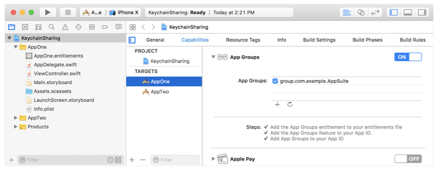 Screenshot showing App One enabling the app groups capability.