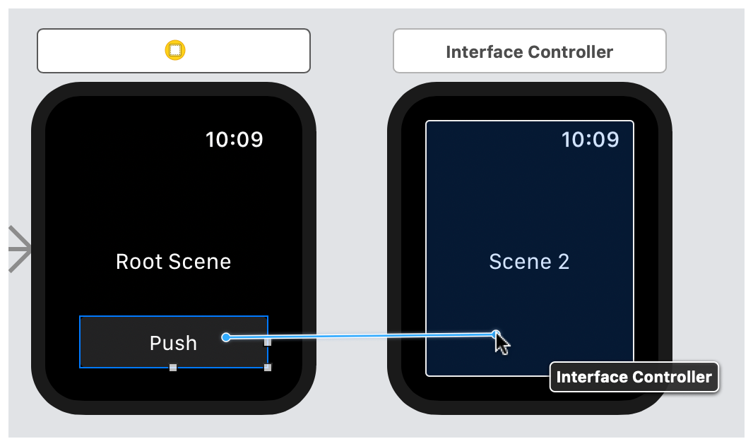 A screenshot showing the control-drag operation between a button and the next interface controller.
