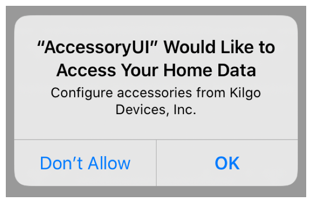Screenshot of the prompt from which the user chooses to either accept or disallow access to home data for the app.
