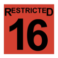 The word restricted, above the number sixteen, in black, inside a red-filled square.
