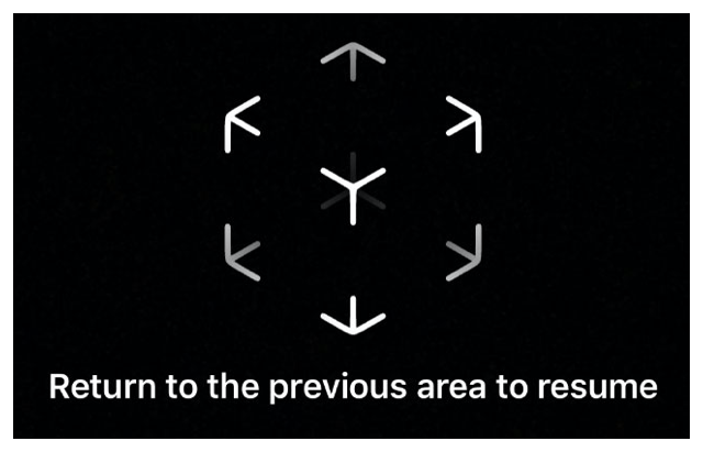 User instruction to return to the user's previous location so ARKit can restore the session.