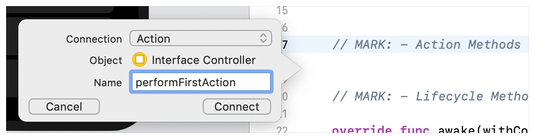 A screenshot showing the Xcode prompt when adding an action method.