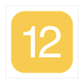 A white number twelve, inside a yellow-filled square with rounded corners.