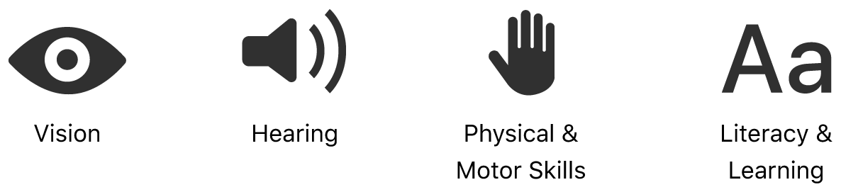 The four accessibility domain symbols for vision, hearing, physical and motor skills, and literacy and learning. From left-to-right, An eye icon, a speaker icon, an open hand icon, and an icon of upper and lowercase A characters.